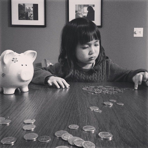 Your first lesson on wealth management. I think the lesson worked. I said you can buy any toy you want if you had enough money in your piggy bank to pay for it… you eventually changed your mind and told me you didn't want the toy anymore… because you got tired of counting all your pennies.