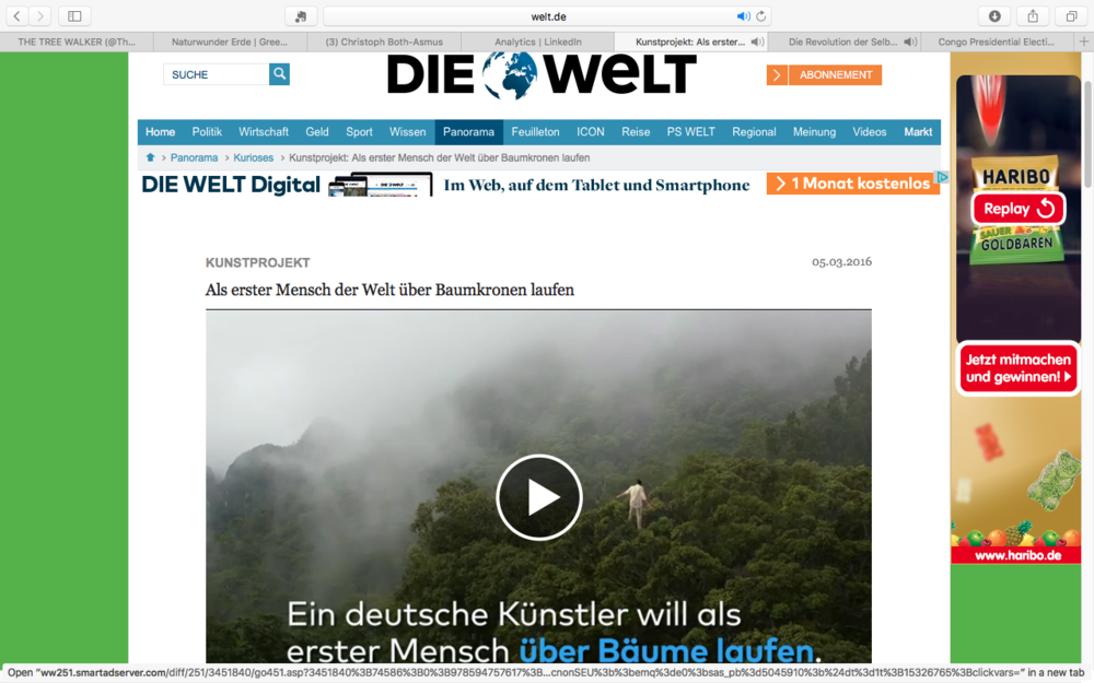 http://www.welt.de/vermischtes/kurioses/article152818283/Als-erster-Mensch-der-Welt-ueber-Baumkronen-laufen.html