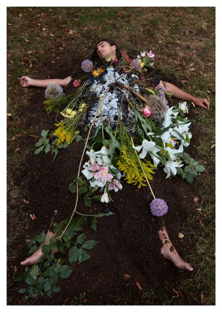 Requiem (Green Cross), 2016 C-print on archival paper, 80 x 120 cm (based on live-ritual-performance) Photo: Andreas Wengel Props: Chika Takabayashi Assistance: Oliver Both-Asmus Flower Sponsoring: Blumen Vanessa