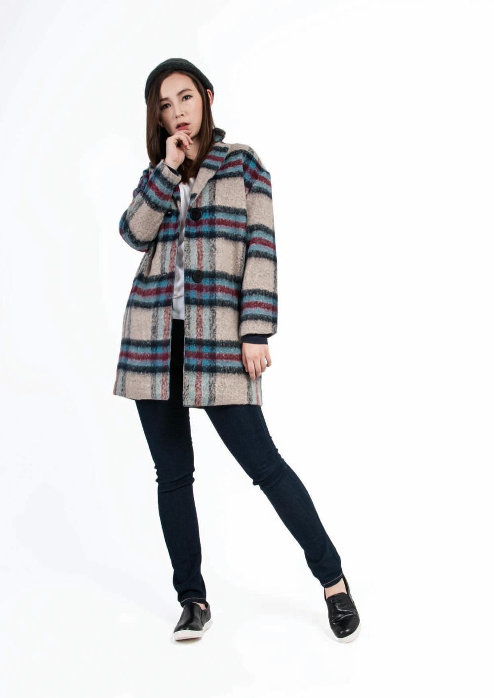Casual Wool Check Coat
