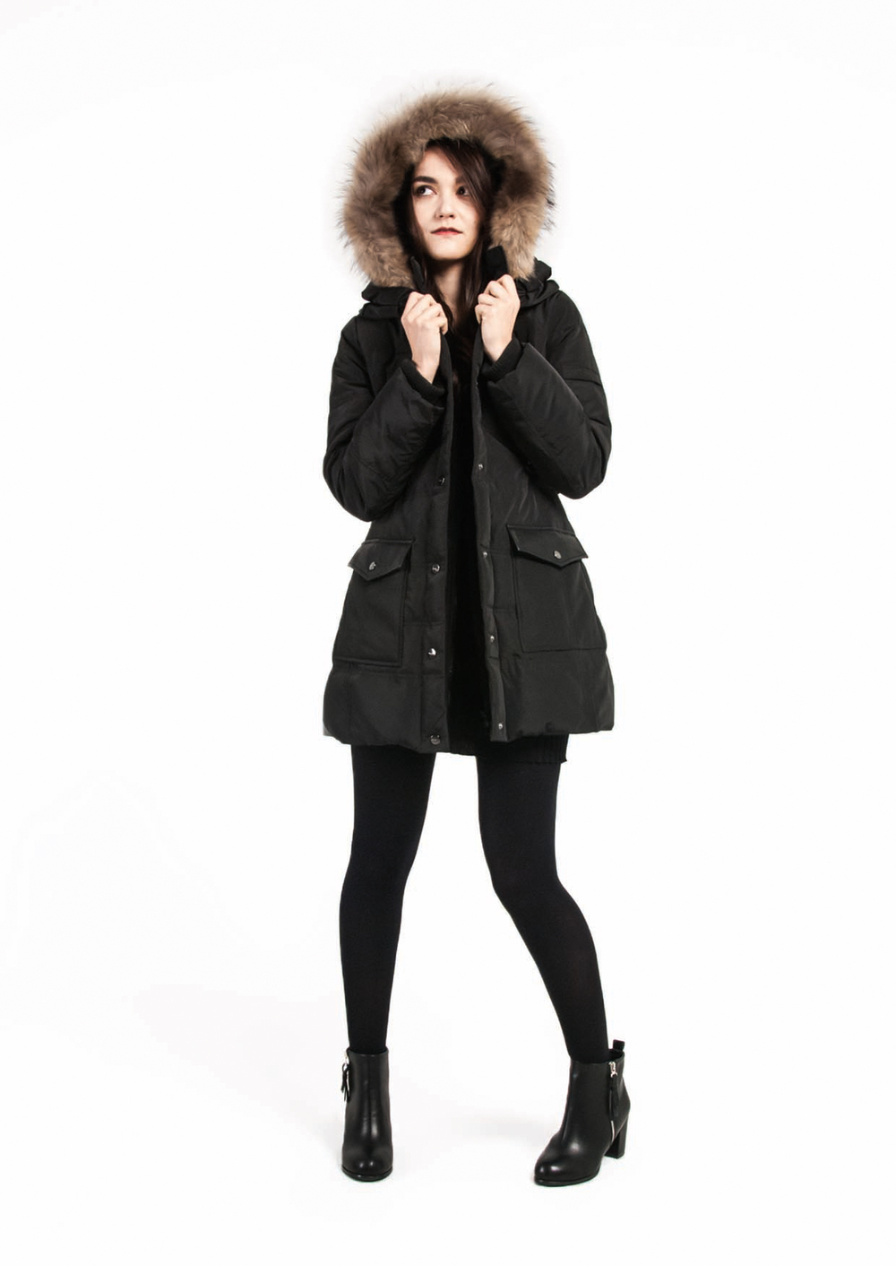Fitted Down Coat with Fur Hoodie