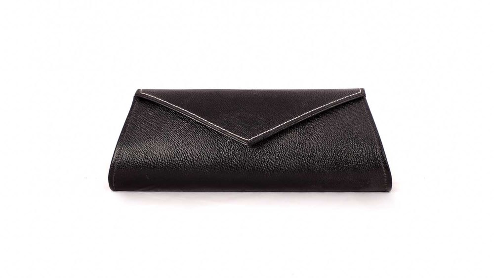 Black cross grain evening clutch bag