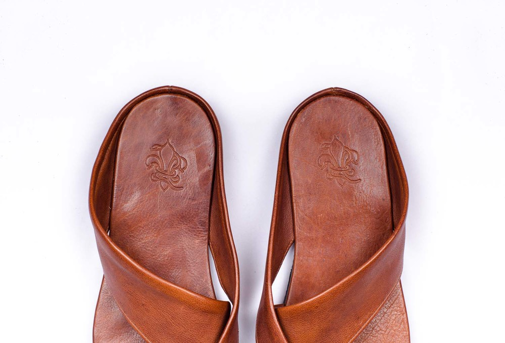Tan calf leather sandals