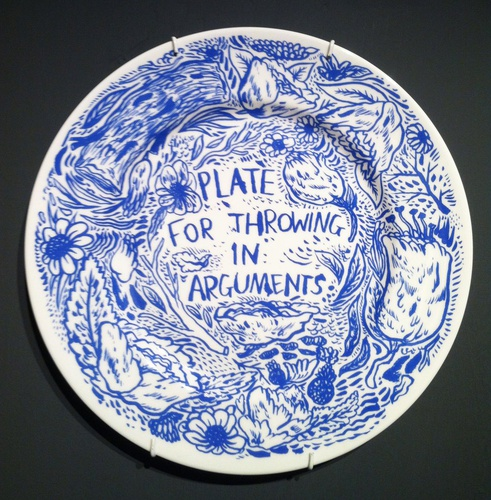 This lovely porcelain plate is from Keaton Henson and Pertwee Anderson & Gold. We do not recommend actually throwing during an argument.