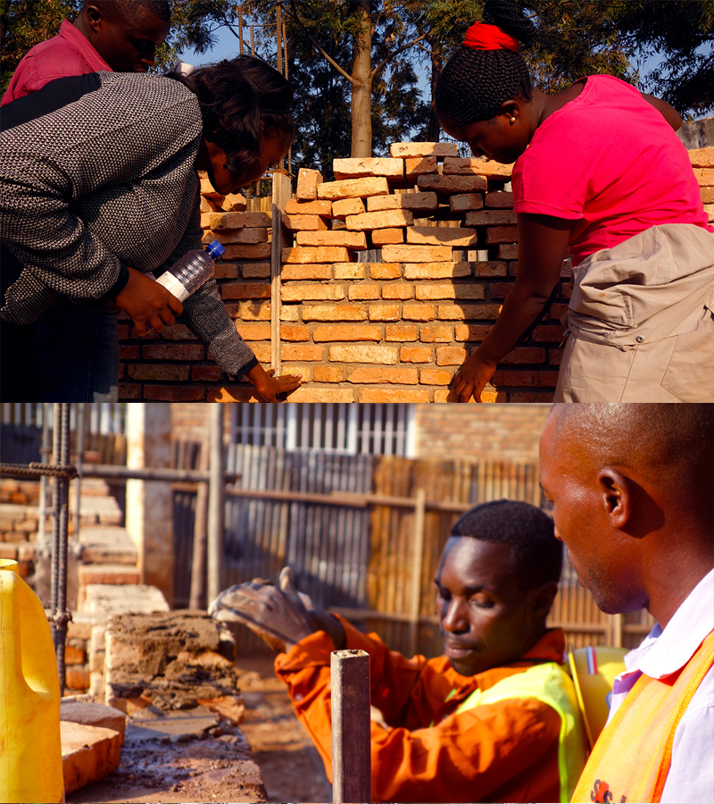 70% - Apart from the programs and services the Masoro Health Center provides, it also continues a commitment we have for inclusiveness in the design and construction process. We use building projects as a means to educate and train those who have traditionally been excluded from this process. For the Masoro Health Center, local men, women, and architectural students from Kigali University were introduced to building techniques and design strategies and worked alongside skilled laborers throughout construction. 70% of the Masoro Health Center construction was preformed by those outside of the construction industry.