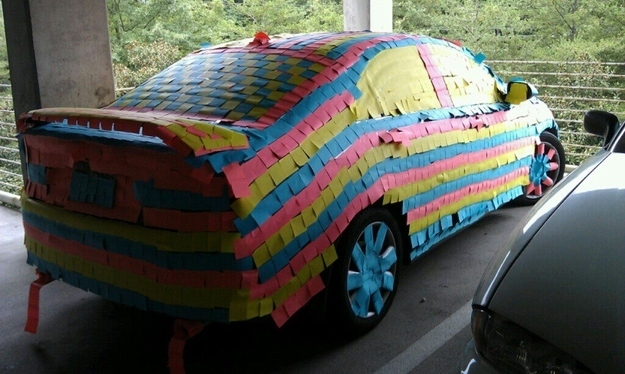 Cover a coworker's car with sticky notes!