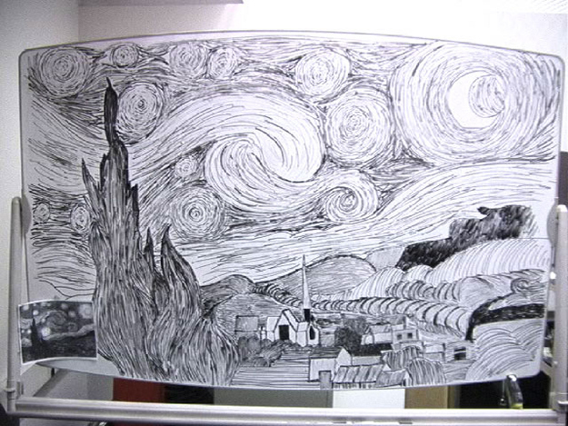 Recreate the masterpiece The Starry Night in black and white!