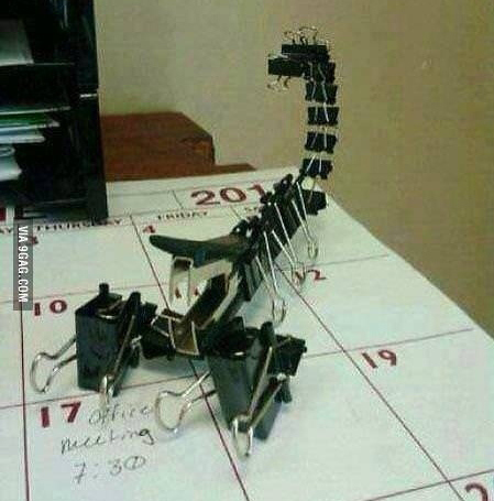 Scare your coworkers with this binder clip scorpion!