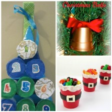 happyhooligans.com   Christmas decorations - look at the candy holders!