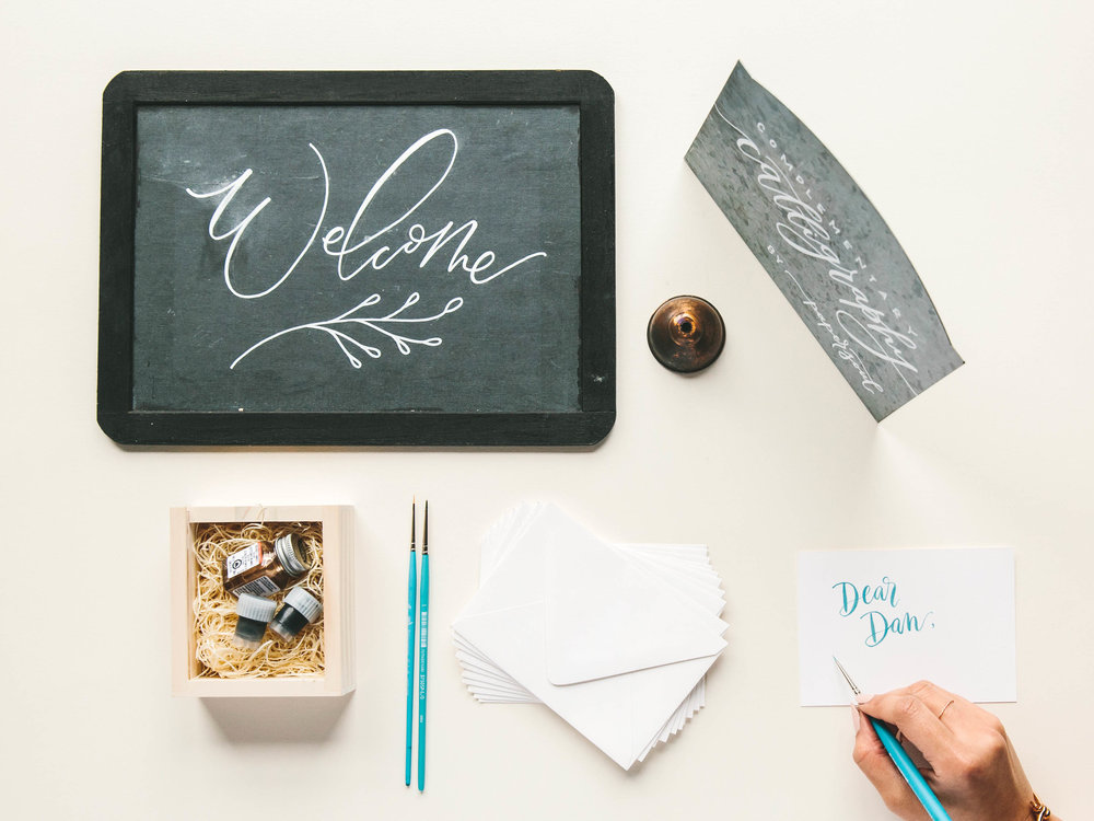 ON-SITE SERVICES  For the most exclusive and intimate experience, hire a calligrapher and letterer for a couple hours or a full day to personalize seating cards, thank you cards or presents. Or whatever your heart desires.