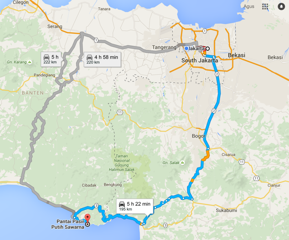 Rute menuju Sawarna yang kami pilih