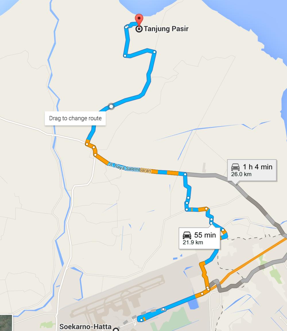 Rute menuju Tanjung Pasir dari Bandara Soekarno-Hatta