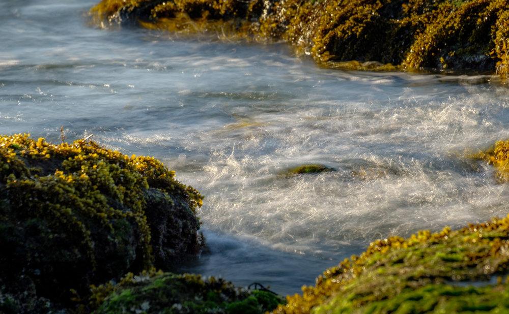 Sinar matahari yang jatuh di antara karang-karang ini cukup menarik untuk dipotret. Seperti lagi joget senang kena sinar matahari yang hangat. Fujifilm X-T2 | XF 55-200 | Athabasca Filter ARK II ND 64