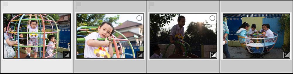 Klik foto paling kiri sebagai foto patokan, tekan dan tahan SHIFT lalu klik di foto paling kanan untuk blocking. Atau klik foto paling kiri sebagai foto patokan, tekan CMD + A (Mac) / Ctrl + A (Win) untuk blocking sekaligus.