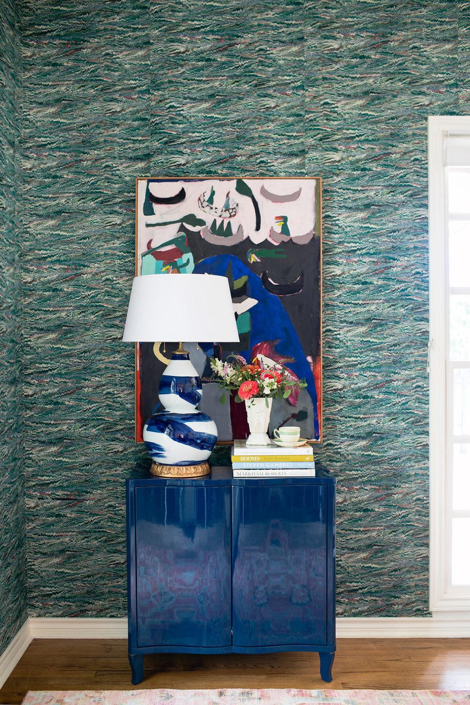 Austin Texas Interior Designer- Avery Cox Design- Rosedale Eclectic Dining Room- Wallpaper