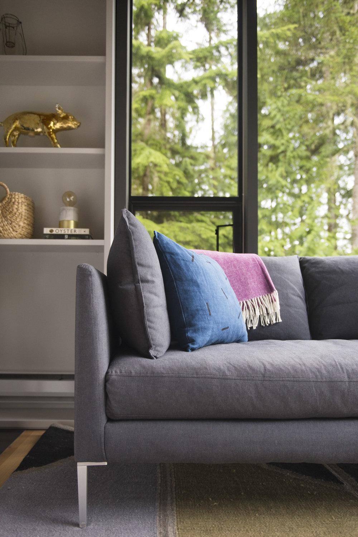 Avery Cox Design- Washington State- Sofa corner and rug detail view.