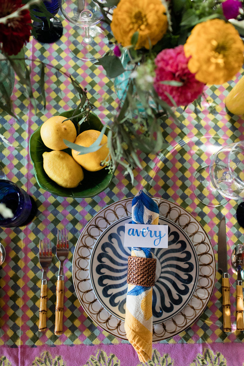 Positano themed dinner party in Austin, TX with Bunny Williams table top