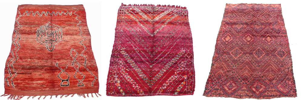 Deep red, soft aubergine, bold mauve and earthy brown feature gloriously in carpets from the cold central and western Middle Atlas mountain zones, available from Maroc Tribal