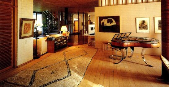 A large Beni Ouarain carpet with lozenges in a house designed by modernist architect Alvar Aalto