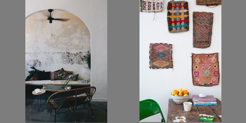 Left, Berber cushions look striking in an industrial interior. Right, hung as works of art (from Bohemian Home)