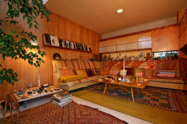Charles and Ray Eames' home, with a Moroccan carpet in the foreground