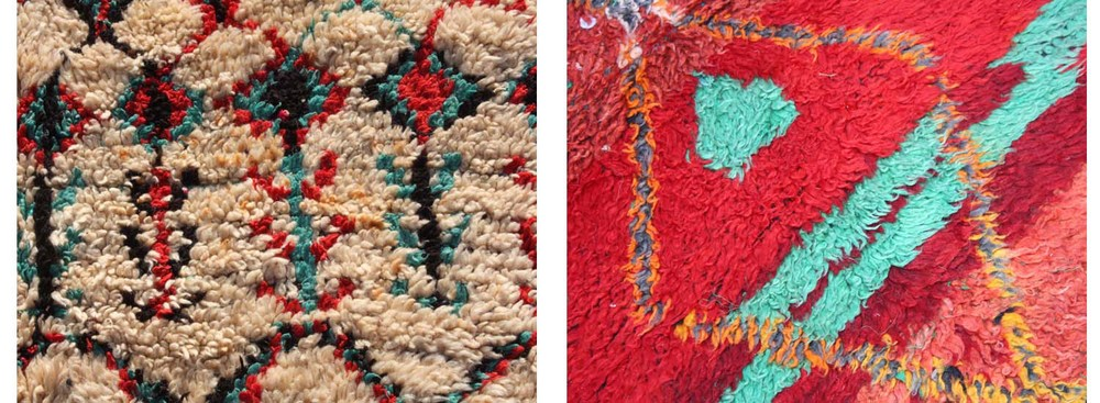 'Male' symbols in Berber rugs are usually straight and sharp, such as these twig-like motifs (left). The lozenge is a typical and much-used 'feminine' symbol (right)