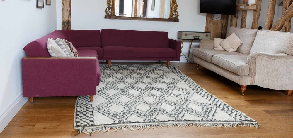 A 1950s Ait Seghrouchen tribal carpet in an Essex barn conversion