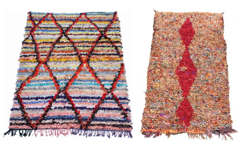 Lozenges, a classical female Berber symbol, are widely used in all types of Boucherouite rugs
