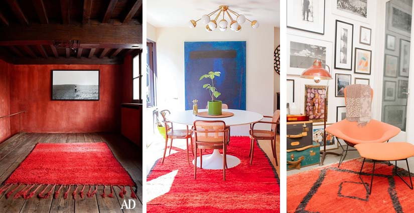 Bold red pile carpets seen in Architectural Digest (left), in Amanda Chantal Bacon's home in Venice Beach California (centre) and the Los Angeles Home OF designer Liseanne Frankfurt. Photo credits to the owners