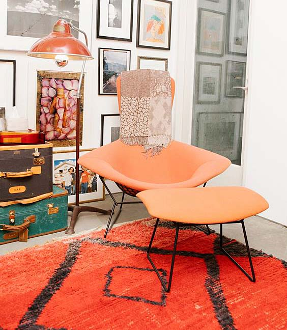 A abstract Berber rug in Los Angeles home of designer Liseanne Frankfurt