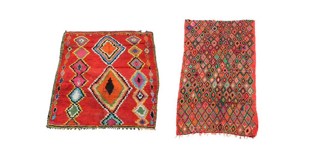 Two entirely different rugs from our new collection, united by a shared colorful and bold intent