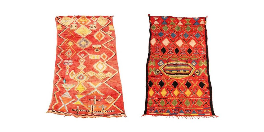 Two long exuberant and complex vintage sleeping carpets from  our collection