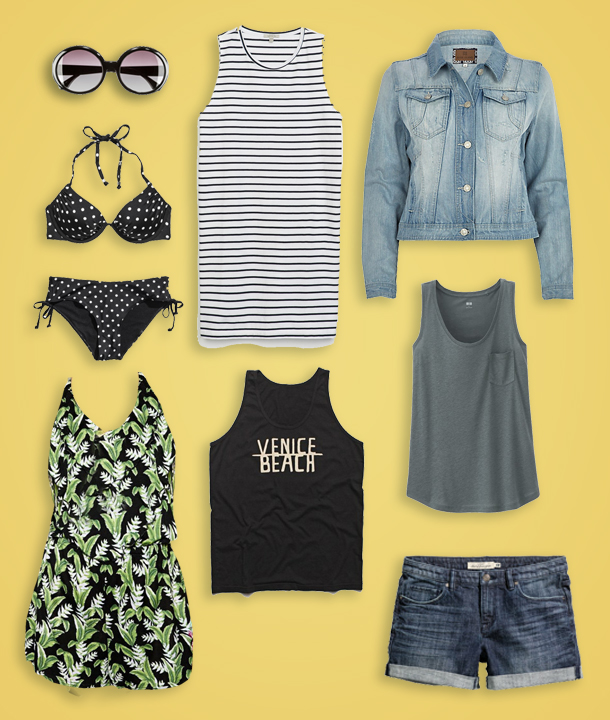 Sunglasses  $7.95 H&M , Polka Dot Bikini Top  $17.95 H&M ,  Polka Dot Bikini Bottoms  $12.95 H&M , Striped Cotton Dress  $39.90 Zara , Light Wash Denim Jacket  $70 River Island , California Palm Print Frill Halter Beach Playsuit  $38.11 ASOS , We Are All Smith Venice Beach Tank  $32 BlueFly , Linen Blended Tank  $12.90 Uniqlo , Denim Shorts  $29.95 H&M