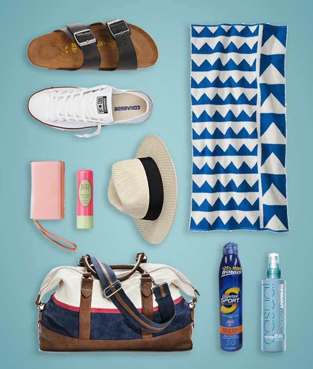 Black Birkenstocks  $120 Shopbop , Chuck Taylor Classics in Optical White  $50 Converse , Nate Berkus Multi Point Beach Towel  $15.29 Target , La Chance Passe Smartphone Wallet  $45.95 MochiThings , Shea Butter Lip Balm in Coral Crush  $8 Pixi Beauty , Iconic Straw Panama Hat  $14.80 Forever 21 , Men's Canvas Weekender Bag  $34.99 Target , Coppertone Sport SPF 30 Dual Pack  $13.99 Amazon , Toni&Guy Casual Sea Salt Texturizing Spray  $15 BirchBox