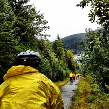 Biking through the vast Alaskan Tongass Rainforest