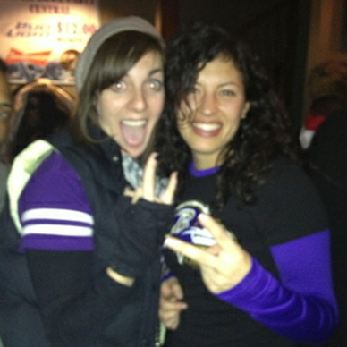 Me and Rhi on a very drunk night, courtesy of the Baltimore Ravens, champions of Super Bowl XLVII.