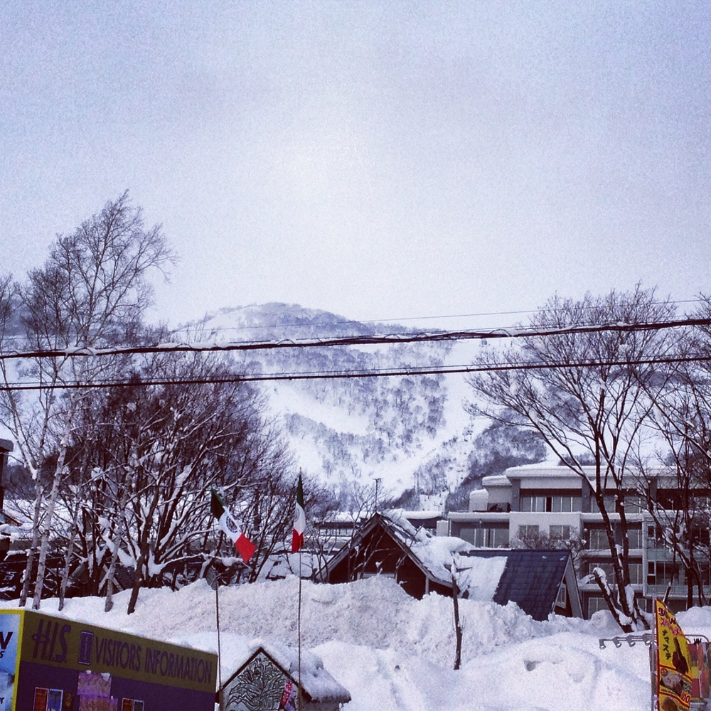 Our terrifying view from breakfast as our ski time approached.