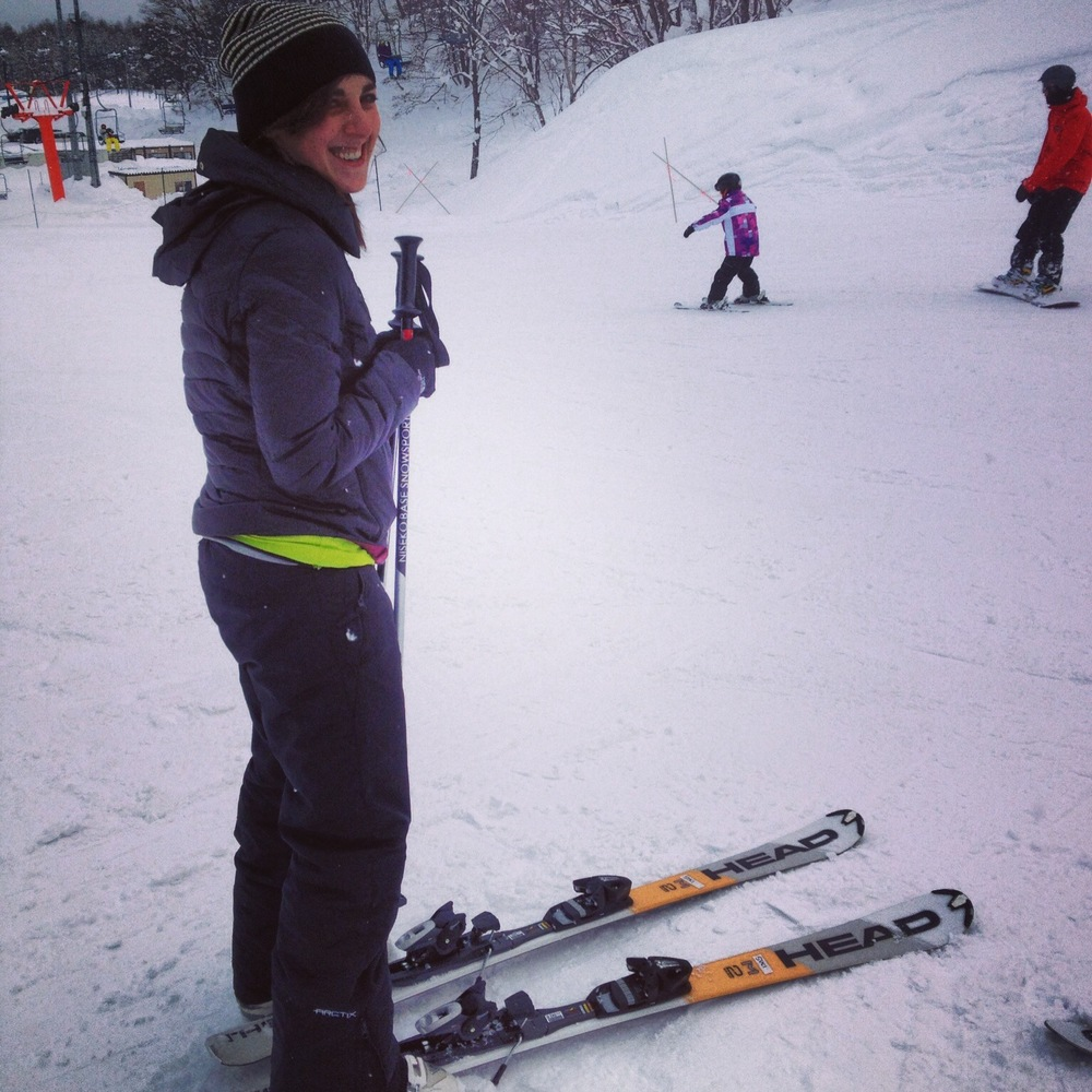 No need to talk about the fact that my boots aren't actually hooked into the skis.