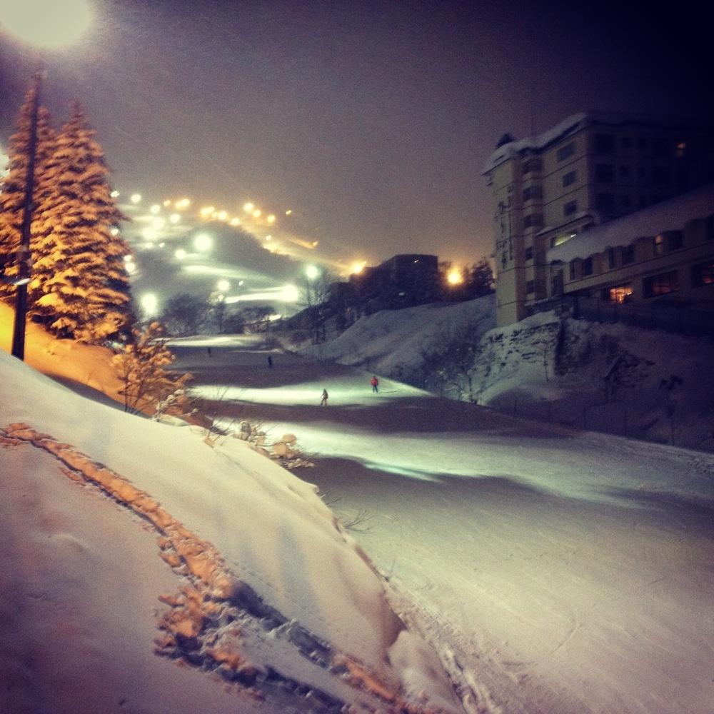 Twilight skiing in Niseko.