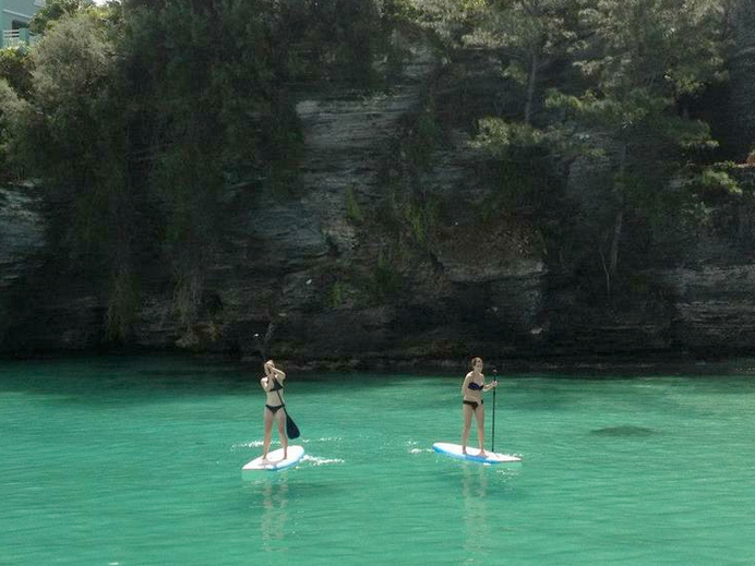 Casually paddle boarding with Steph in Bermuda, NBD.