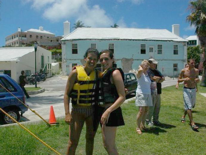 Rhi and I post-jetski adventure in Bermuda.