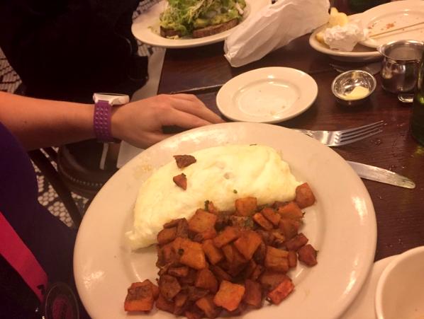 Jen's egg white omelet and home fries.