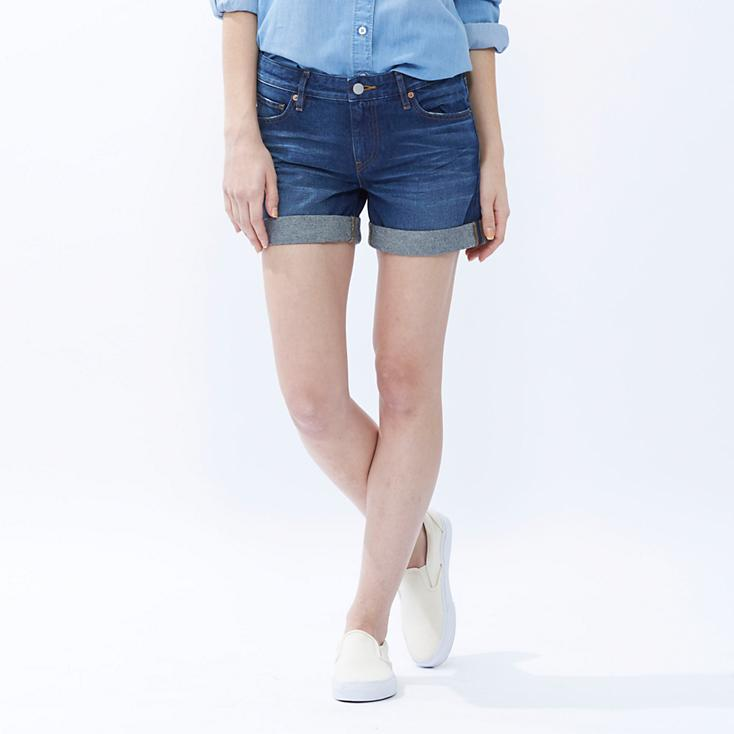 WOMEN BOYFRIEND FIT DENIM SHORTS