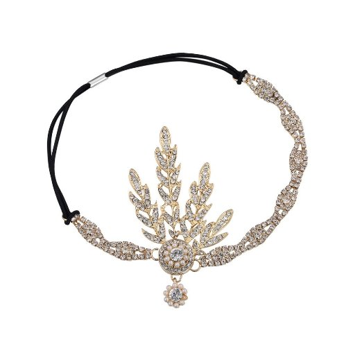 Great Gatsby Inspired Leaf Medallion Pearl Headpiece