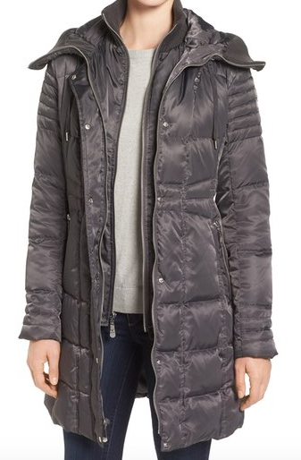 Vince Camuto Knit Trim Hooded Down + Feather Fill Coat