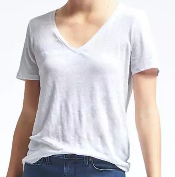 Short-Sleeve Linen Vee Tee