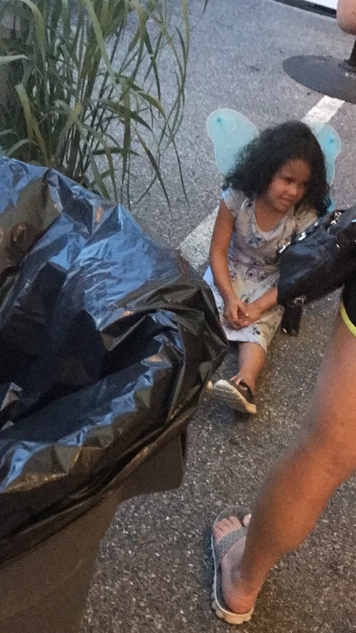 Spotted in the beer garden because where else would you find a 6-year-old fairy throwing a temper tantrum behind a garbage can?