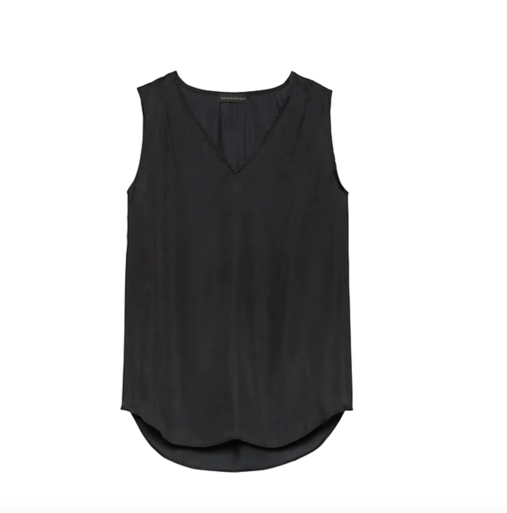 Soft Satin Pleated Drapey Tank