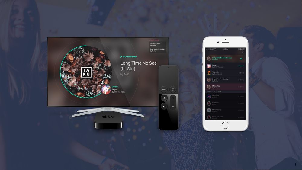 Partygoers are able to view, skip, and add songs in the tvOS application, in addition to viewing and adding music on their phones. These mock ups were created by others on the design team working on this project.