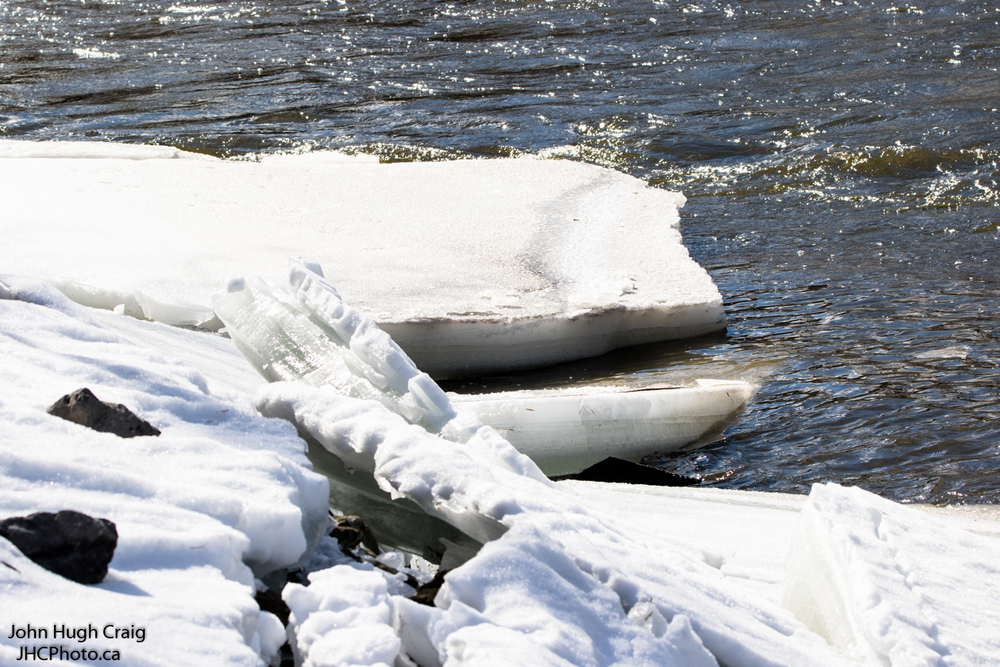 Ice Breaking up on River